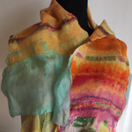 Bags and Bits by BMJ by Margaret Jackson – Yellow and Pink felted scarf